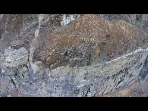 Snapshot from video of geologic discontinuity.  Notice the vertical discontinuity behind the brown area.