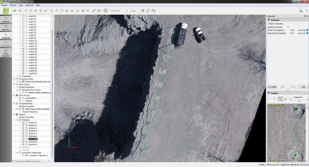 Borehole locations can be checked and faces can be profiled more quickly and accurately with UAS.